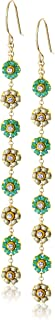 Miguel Ases Green Jade and Swarovski Dainty-Floral Drop Earrings