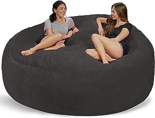 Chill Sack Bean Bag Chair: Giant 8' Memory Foam Furniture Bean Bag - Big Sofa with Soft Micro Fiber Cover - Grey Furry