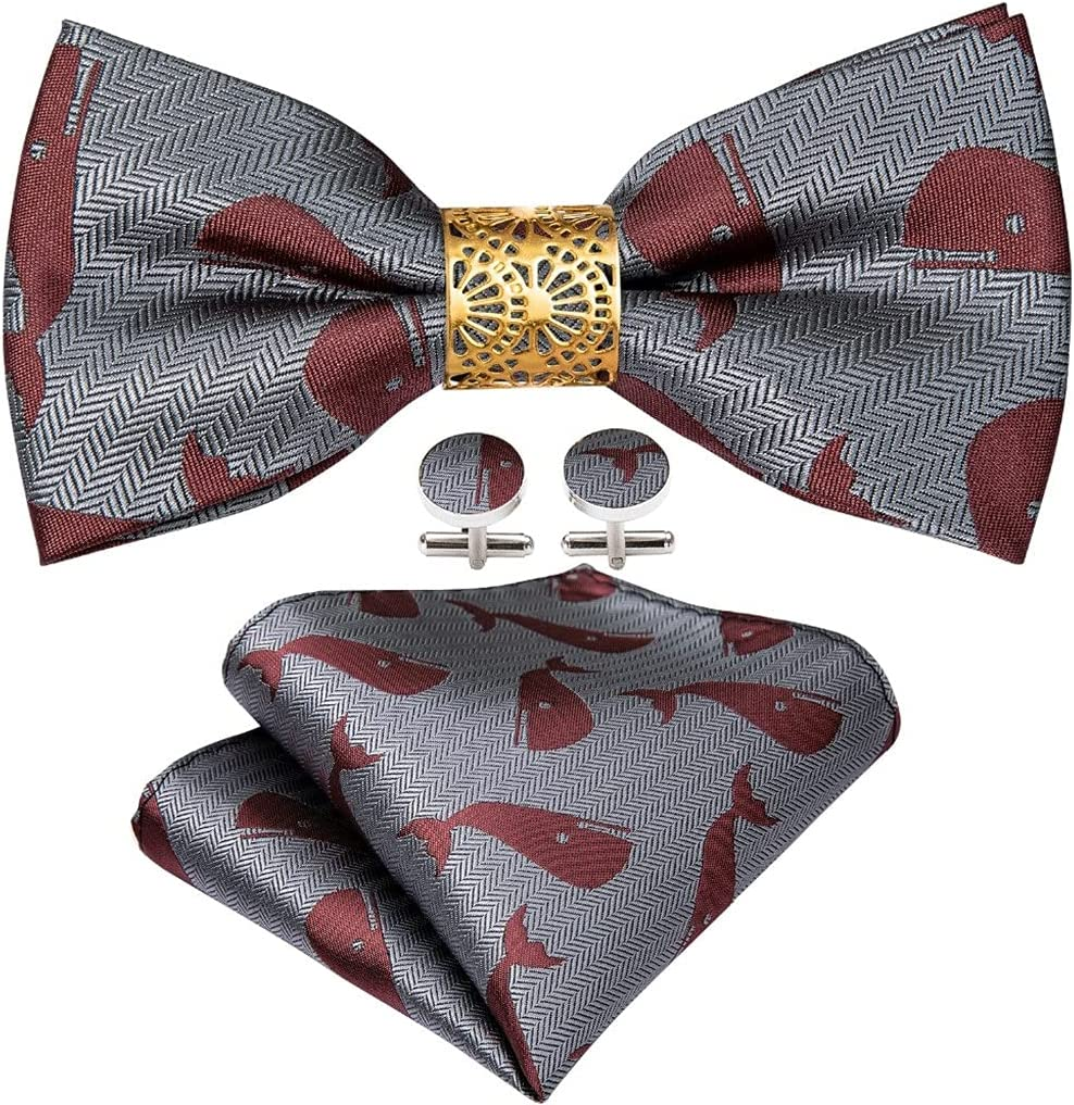 CDQYA Gray Carton Silk Pre-Bow Tie For Men Wedding Accessorie Adjustable Butterfly Handky Removable Gold Ring Set (Color : Gray, Size : One size)