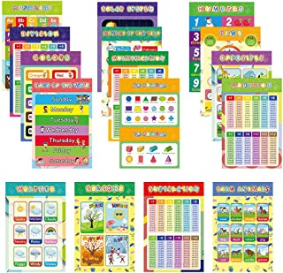 Pack of 16 Large Laminated Educational Posters for Kids & Toddlers, Waterproof Learning Poster Charts for School, Nursery,...