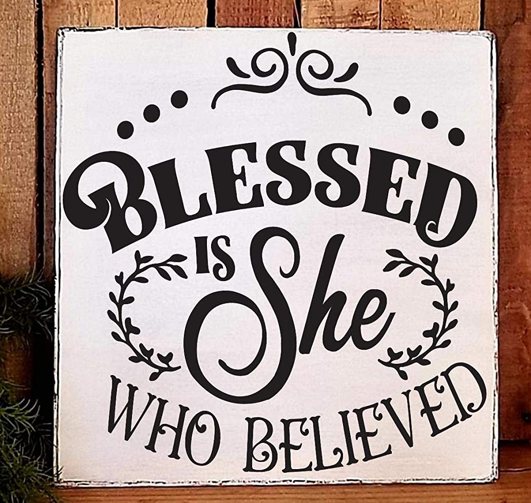 Farmhouse Style Blessed is She who Believed Wooden Sign Plaque