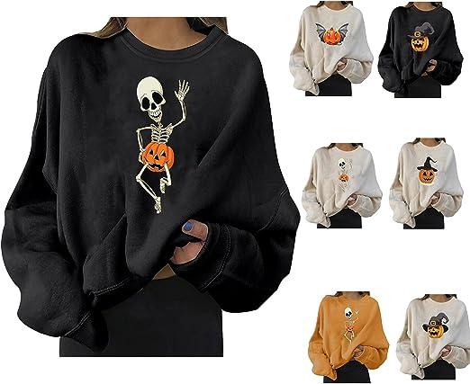 Halloween Sweatshirts for Women Plus Size Lightweight O-neck Long Sleeve Pullover Pumkin Skeleton Graphic Tunic Tops