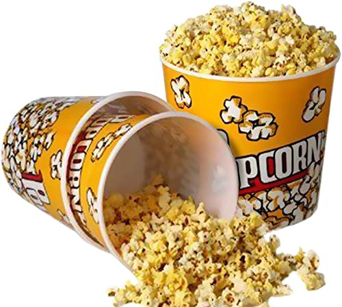 """Novelty Place] Retro Style Plastic Popcorn Containers for Movie Night - 7.25"""" Tall x 7.25"""" Top Diameter (3 Pack)"""