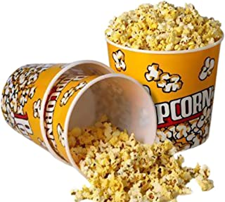 """[Novelty Place] Retro Style Plastic Popcorn Containers for Movie Night - 7.25"""" Tall x 7.25"""" Top Diameter (6 Pack)"""