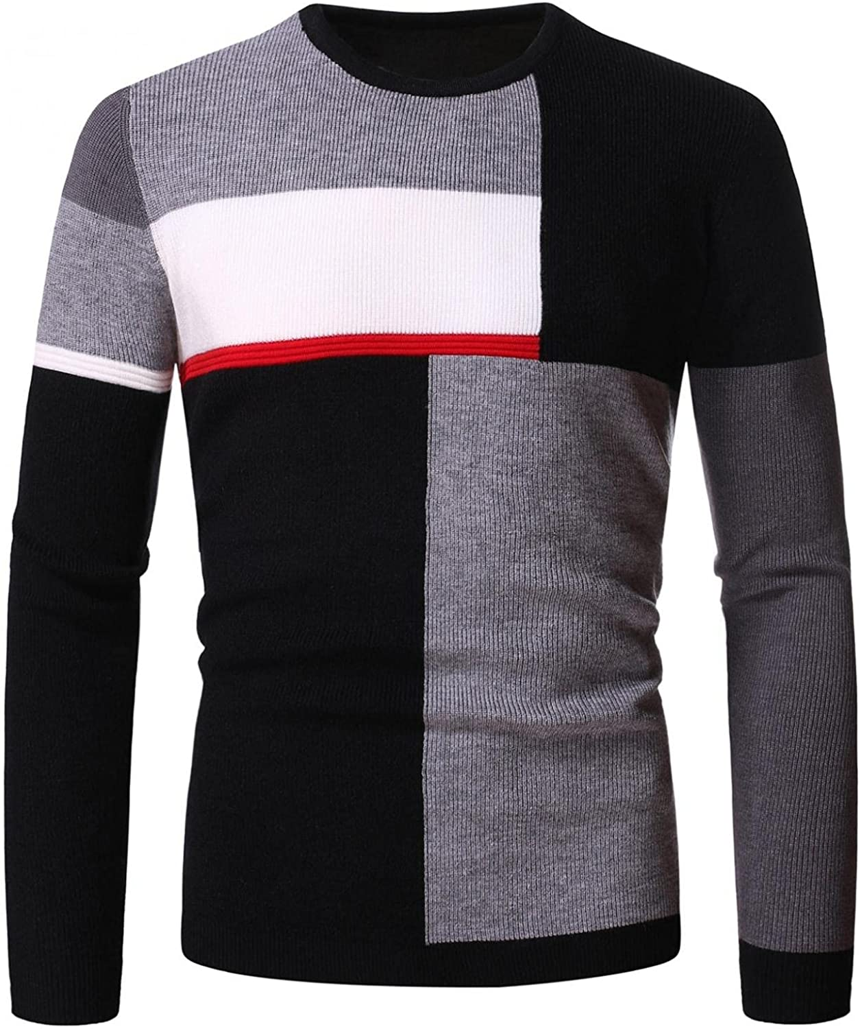 FUNEY Mens Vintage Oversize Knitted Sweater Color Block Striped Long Sleeve Round Neck Knitted Pullover Jumper Fall Sweaters