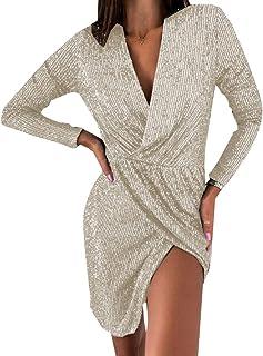 desolateness Womens Fashion Long Sleeve Sexy Solid Color Wrap V Neck Party Clubwear Slim Fit Split Hem Dresse