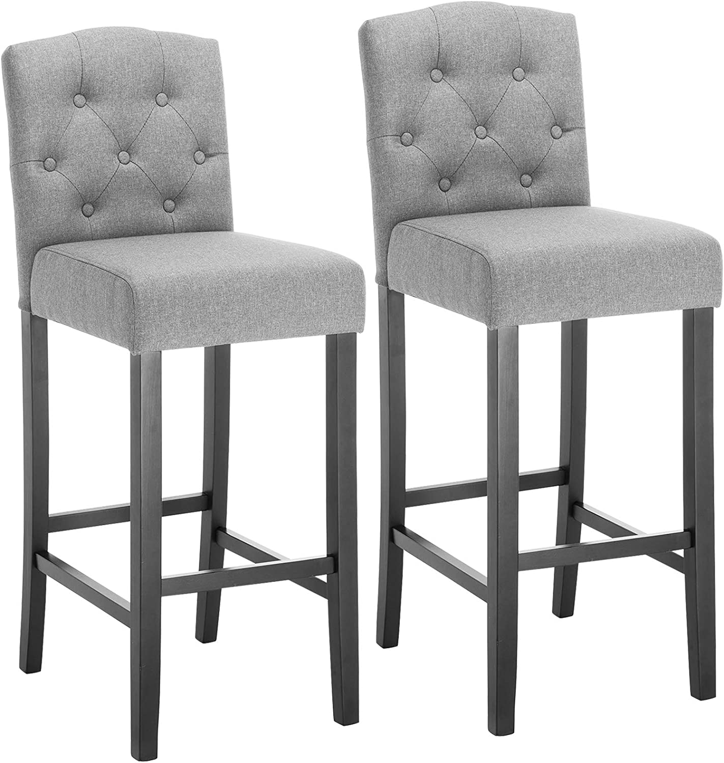 WOLTU Breakfast Kitchen Counter Chairs Bar Stools Set of 9 Bar Chairs Wood  Legs Barstools Light Grey High Stools