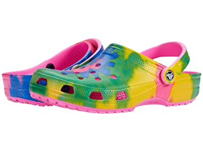 Crocs Classic Tie-Dye Graphic Clog (Electric Pink/Multi) Clog Shoes