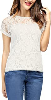 Women's Round Neck See Through Sheer Floral Lace Shirt Top