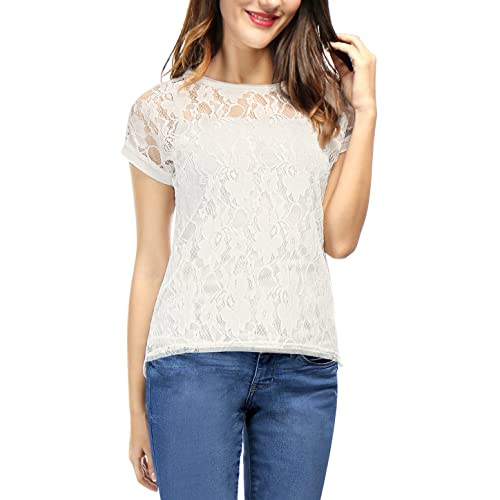 2cf9aadfb8ec4b Allegra K Women's Round Neck See Through Sheer Floral Lace Shirt Top