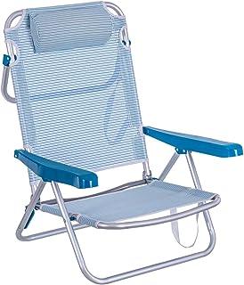 LOLAhome Silla de Playa Baja con cojín de 4 Posiciones de Aluminio y textileno (Azul)
