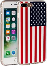 iPhone 7 Plus Case,iPhone 8 Plus Case,AIRWEE USA American Flag Pattern Slim Clear Acrylic PC Hard Back Cover with Soft Rubber TPU Bumper Hybrid Protective Case for Apple iPhone 7 Plus/iPhone 8 Plus
