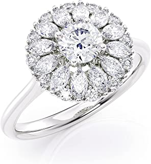 IGI Certified 1 Carat Marquise Cut Diamond Flower Ring for Women in 14k White Gold (F-G, I1, cttw) 4-Prong Set Size 7 by J...