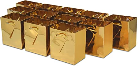 """4x2.75x4.5"""" 12 Pcs. Extra Small Metallic Gold Paper Gift Bags with Metallic Handles, Party Favor Bags for Birthday Parties, Weddings Gifts"""