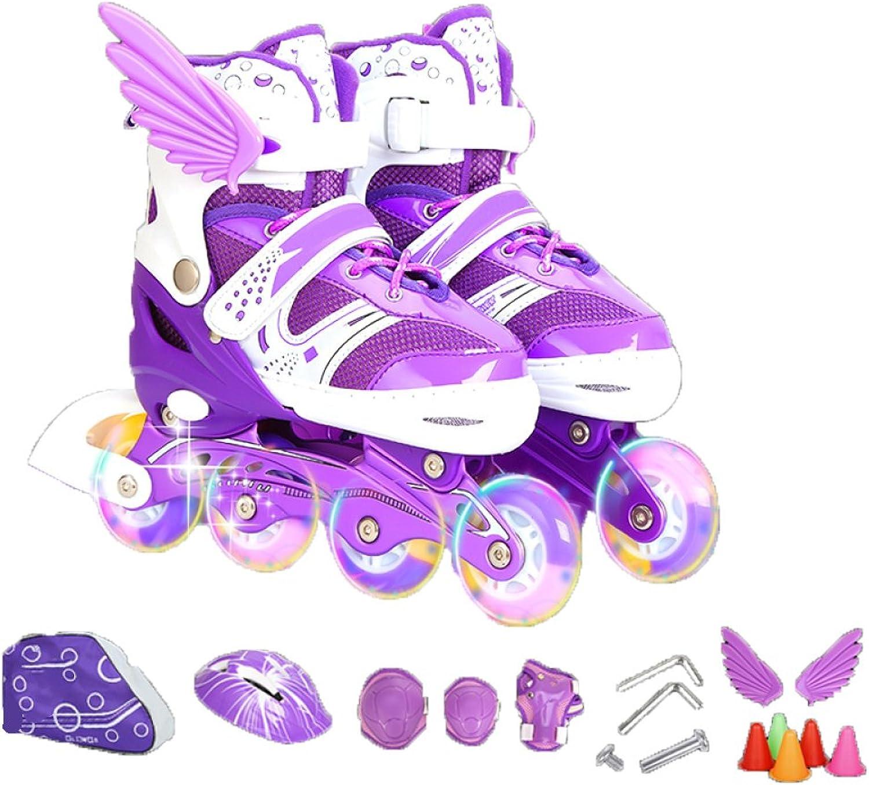 XINGF Inline-Skates Für Kinder, Für Anfänger Einstellbare Rollschuhe, Bequeme Einreihige Skates Für Jungen Und Mädchen B07MNKFBHB  Flut Schuhe Liste
