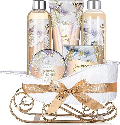 Coffret Cadeau Naturel pour Femme -Body&Earth 6 Pcs Coffret de Bain & Douche au Parfum de Jasmin et de Miel -Parfait ...