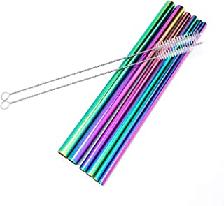 Stainless Steel Drinking Straws, 8.5 inch Reusable Drink Straw for 20 oz Tumblers Cold Beverage,large Straw for smoothies, Thick Milkshakes,Ecofriendly Rainbow Straw (Size: 0.24