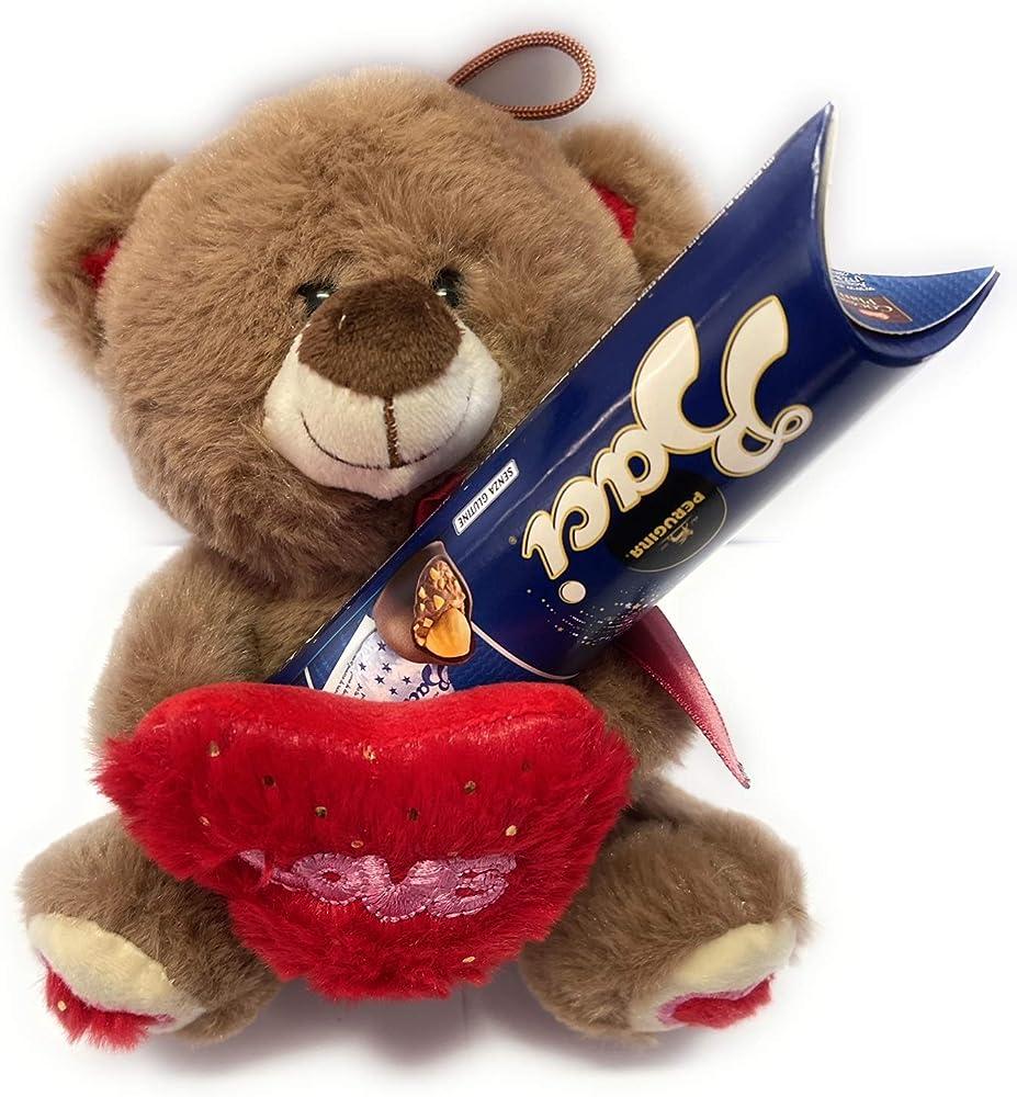 Italy,san valentino ,tubo baci perugina ,piu` peluche orsacchiotto