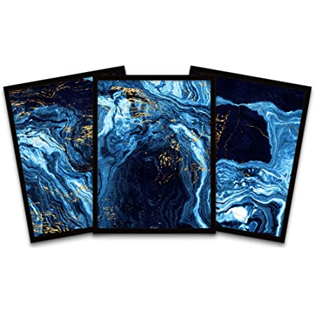 Abstract Dark Blue Gold Marble Precious Black Framed Wall Art Print Poster Home Decor Premium Pack Of 3 Amazon Co Uk Kitchen Home