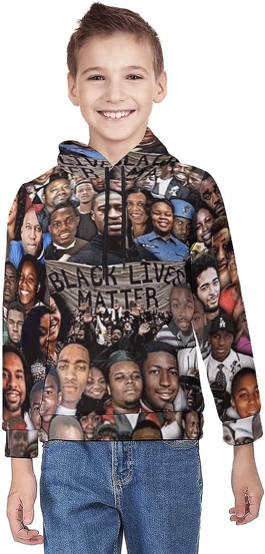 Black Live Matter Teenage Hooded Youth Sweatshirt with Big Pocket for Boys Girls Fashion Warm Hoodies