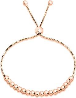 Verona Jewelers Sterling Silver Italian Adjustable Bolo Bead Ball Bracelet- Slider Bracelet for Women, 925 Sterling Silver Bracelet,Silver Bead Bracelet for Women,