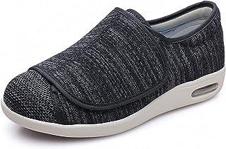 RTY Chausson Orthopédique pour Homme, Orthopédique Messieurs Easy Close Coupe Large Fermeture Velcro Chaussures Pantoufle...