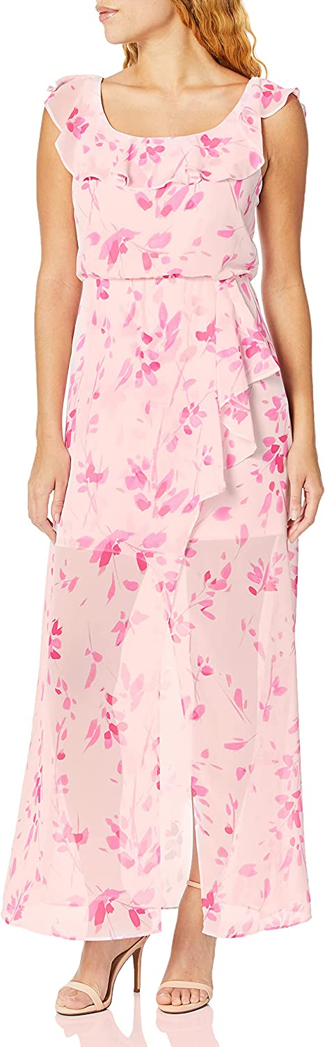 NINE WEST Women's Faux Wrap Maxi online shopping at with Ruffle Detail Nec Dress Max 90% OFF