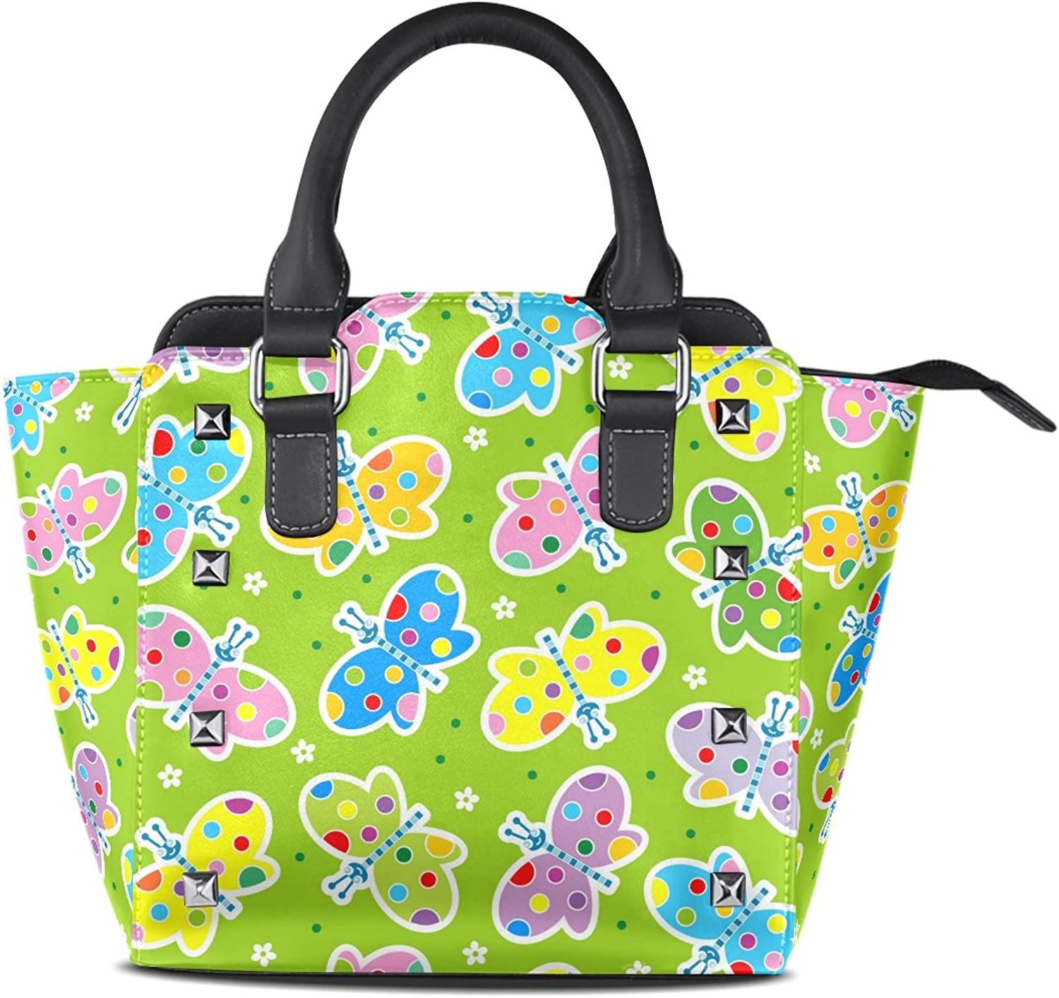 Sunlome Cute colorful Butterfly Print Women's Leather Tote Shoulder Bags Handbags