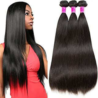 Ubuty Hair Brazilian Bundles Straight Hair,8a Human Hair 3 Bundles 100% Unprocessed Virgin Hair Weave Remy Hair Mink Bundles Extensions Natural Black Color (22.22.22 inch)