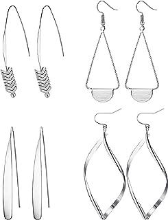 4 Pairs Curved Threader Dangle Earrings for Women Girls Drop Hoop Bar Arrow Statement Earrings Set