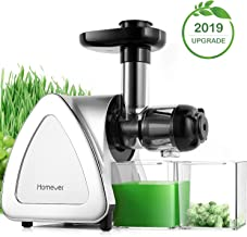 Juicer Machines, Homever Slow Masticating Juicer Extractor Easy to Clean, Cold Press Juicer for All Fruit and Vegetable,BPA-Free, Quiet Motor and Reverse Function with Juice Jug & Brush, Silver