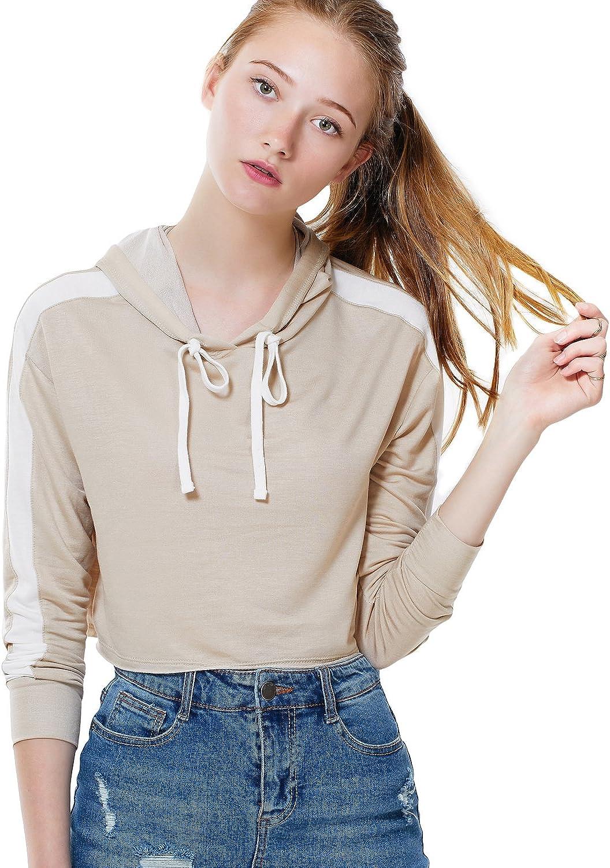 LE3NO Womens Loose Sport Striped Long Sleeve Crop Top Hoodie Pullover Sweatshirt