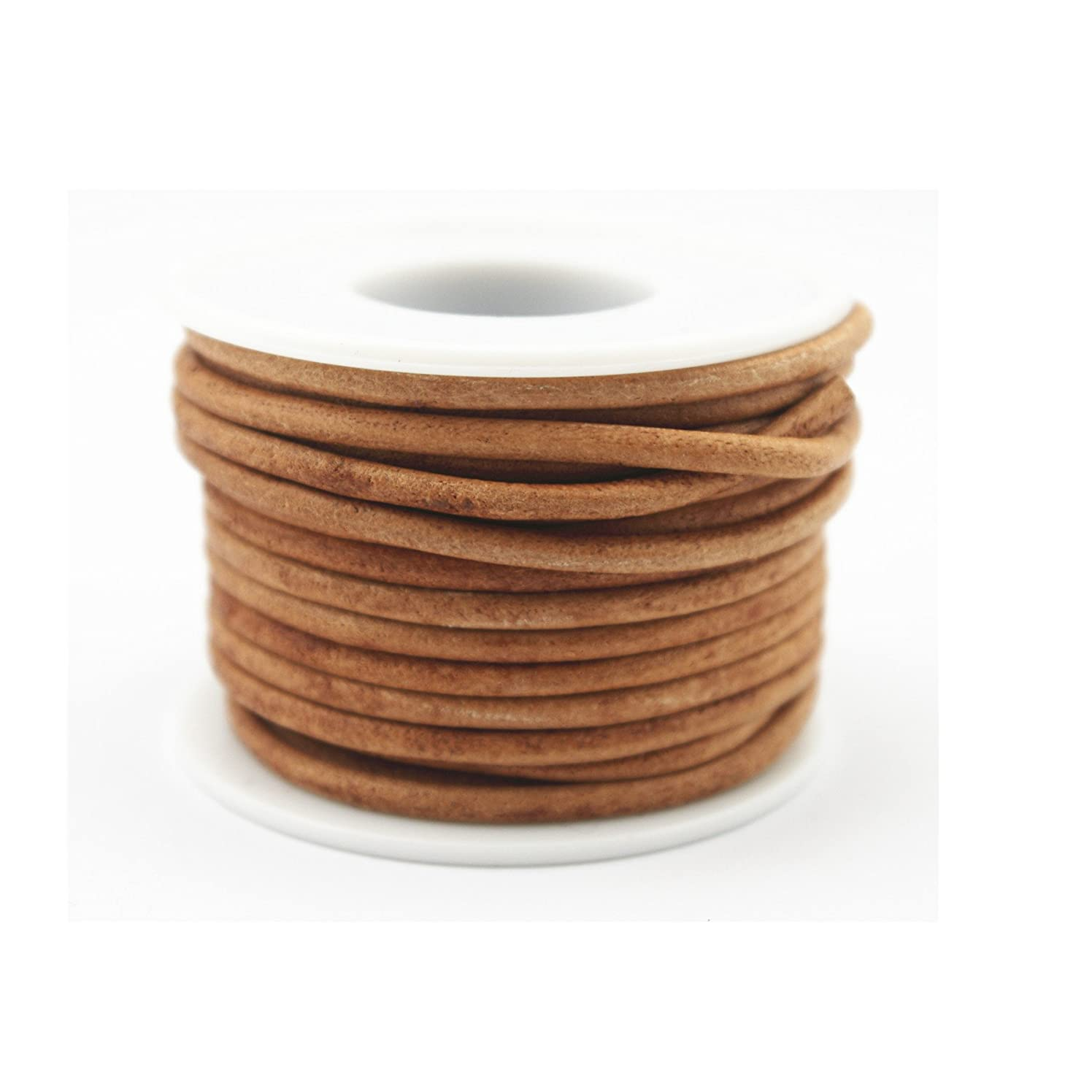 Glory Qin Soft Round Genuine Jewelry Leather Cord Leather Rope (Natural 3mm 10 Yards)