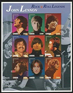 John Lennon - Beatles - Music Icon - Limited Edition Collectors Stamps - Ghana