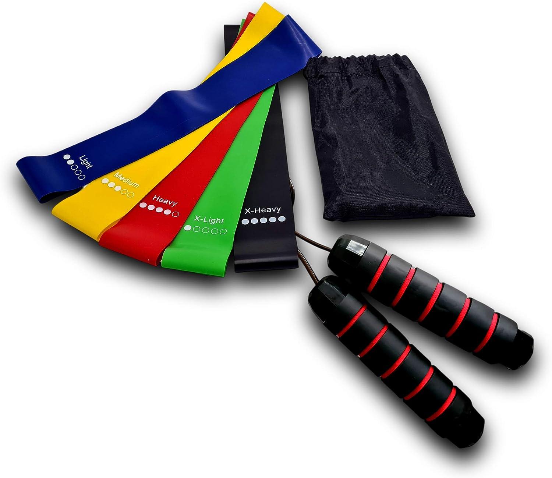 Kit Bande de r/ésistance en Latex 100/% Naturel avec Une Corde /à Sauter Crossfit de 3m r/églable id/éale pour la Perte de Poids,Le Cardio,la Musculation,la r/é/éducation pour Tout Type de Sport /à la Maison