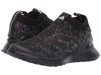 adidas Kids RapidaRun Laceless Knit (Little Kid) (Core Black/Shock Cyan/Active Red) Girls Shoes