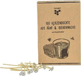 beegut nachhaltige Kerzendochte aus nachwachsendem Hanf & natürlichem Bienenwachs, ohne Paraffin, 100 Stück 10cm mit praktischem Dochthalter