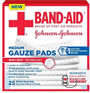 Band-Aid Johnson & Johnson Medium Gauze Pads, 25 Medium Sterile Pads 3 In X 3 In