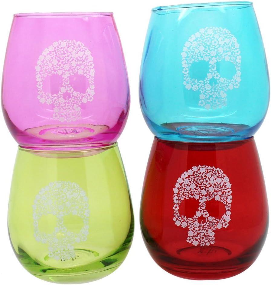 TMD Holdings Flower Candy Skull Stemless Glass Tulsa Mall Atlanta Mall Set of 4 Wine