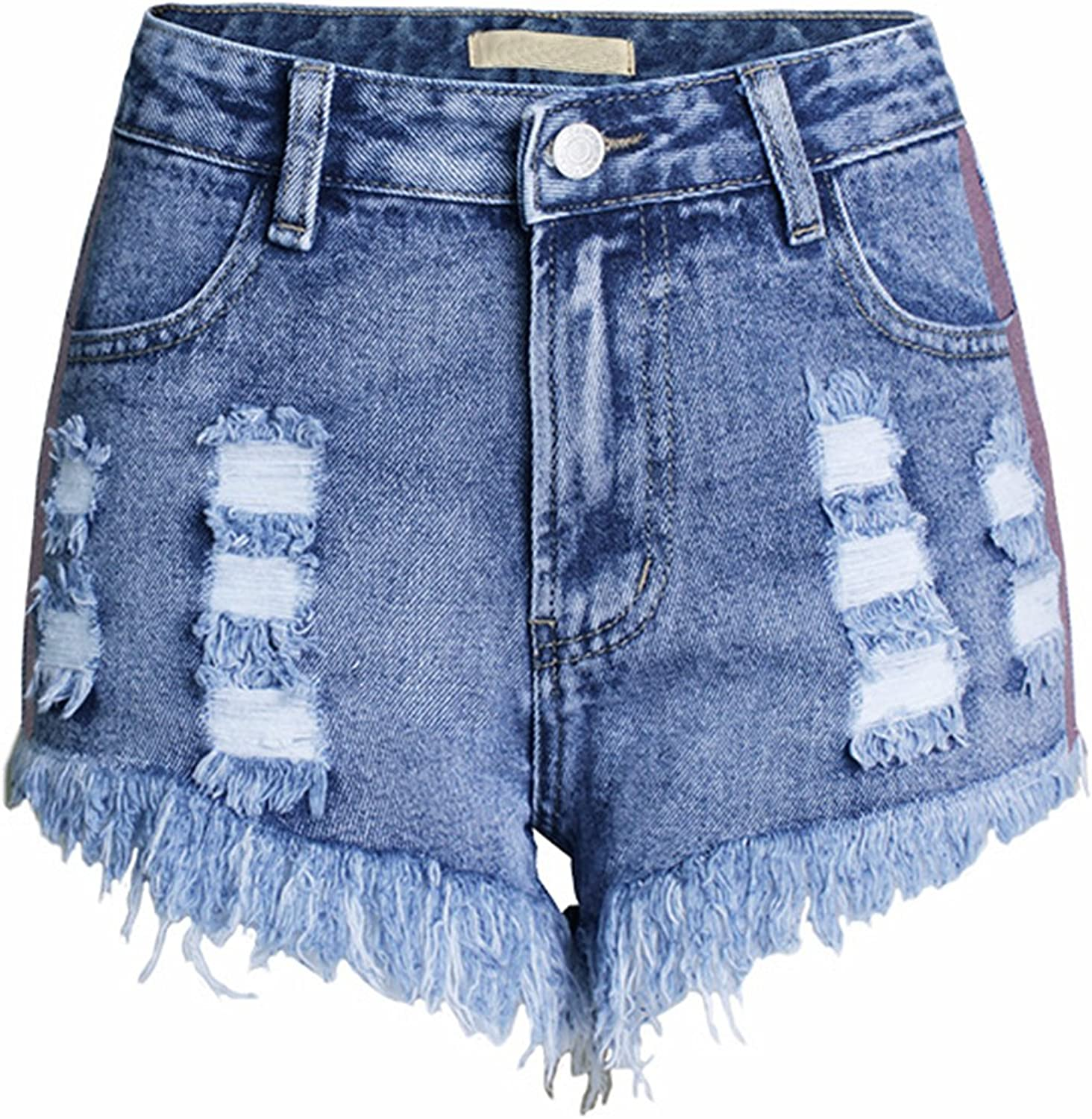 USOPHIA Womens Vintage Distressed Ripped Denim Jean Shorts With Pockets