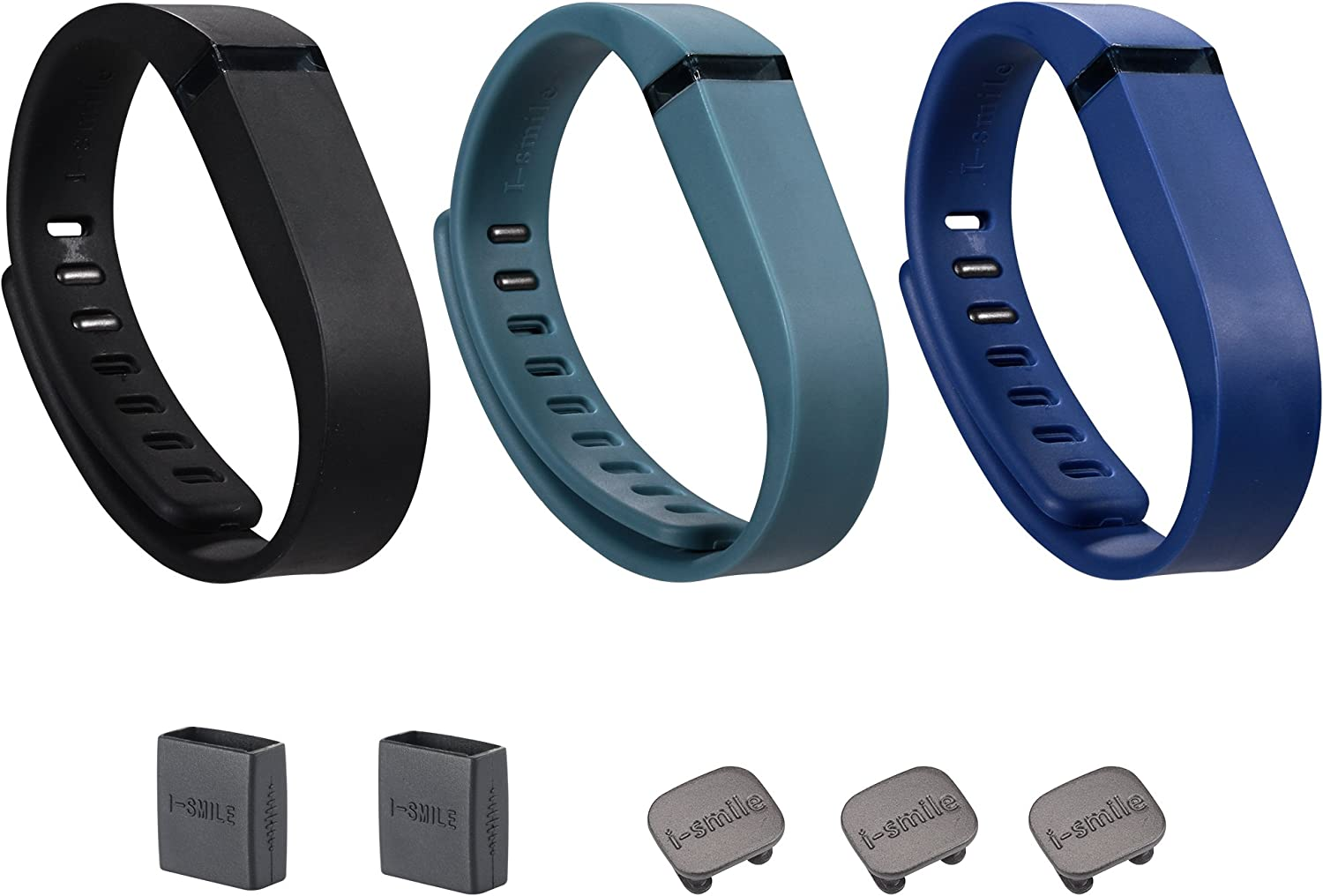 I-SMILE 3PCS Replacement Bands with Metal Clasps for Fitbit Flex (No tracker, Replacement Bands Only) (Black&Navy&Slate, Small)