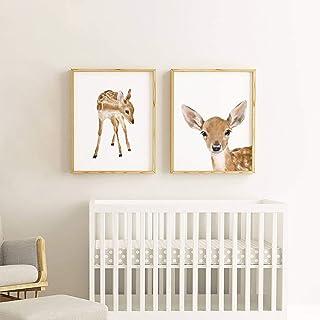 Set of 2 Fawn Art Prints, Deer Nursery Decor, Adorable Woodland Animals Art Print Set, Baby Room Wall Art, Nursery Animals, Cute Baby Animal Prints