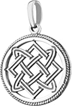 Sterling Silver Celtic Endless Infinity Knot Pendant Necklace Slavic Symbol Lada Star Wiccan Pagan Jewelry for Women Circle of Life Ancient Powerful Amulet 4 Friendship Gifts/Handmade