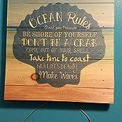 Ocean Rules Seashell Beach Design 12 X 12 Wood Pallet Design Wall Art Sign Plaque Home Kitchen