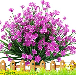 TEMCHY Artificial Daffodils Fake Flowers, 4 Bundles UV Resistant Faux Greenery Foliage Plants Shrubs for Garden, Wedding, Outside Hanging Planter, Farmhouse Indoor Outdoor Decor
