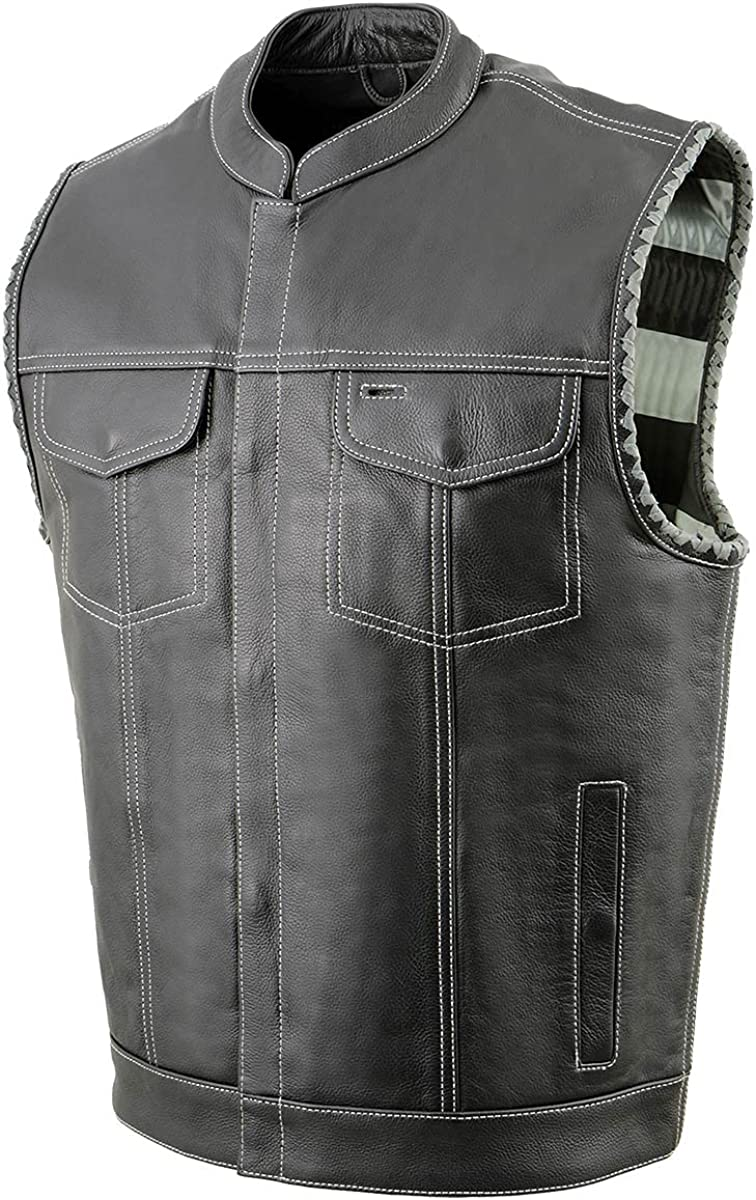 Milwaukee Leather MLM3507 Men's 'Old Glory' Black Leather with Grey Stitching Vest and Laced Arm Holes