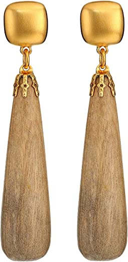 Satin Gold Top/Light Wood Drop Pierced Earrings