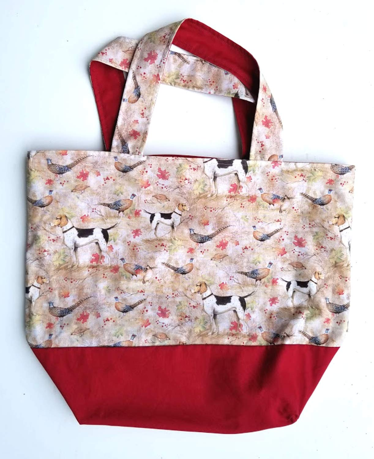 Hand Crafted Tote Bag-Dogs and In a popularity with Pheasants trend rank Partridge