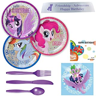 My Little Pony Party Supplies Including Dessert Plates, Napkins, Cutlery and Bonus Printed Ribbon