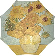 Birthday Gifts Artworks Sunflowers Painting By Vincent Van Gogh 100% Fabric And Aluminium Foldable Umbrella